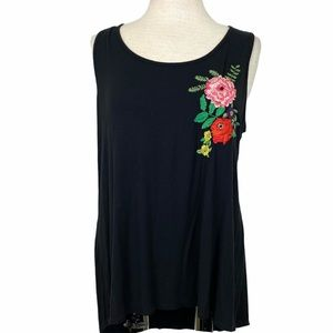 W5 Black Floral Embroidered Tank
